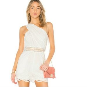 Endless Rose L White Eyelet Romper One Shoulder
